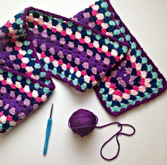 Colorful Granny Square Crochet Scarf Thefriendlyredfox