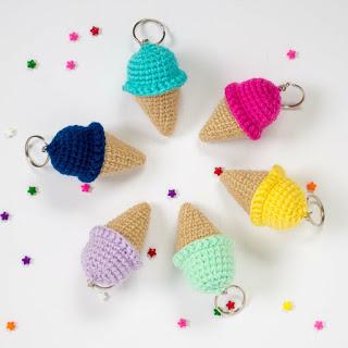 crocheted ice cream keychain