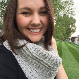 wearing  crochet scarf