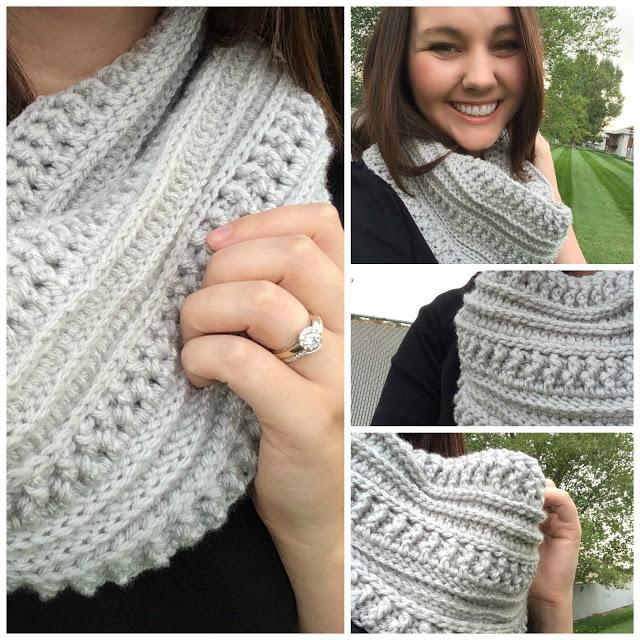 wearing a crochet scarf