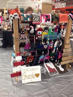 random crafts hanging on a rack