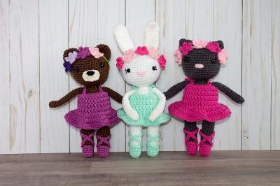 Free Pattern Mini Ballerina Animal Crochet Dolls
