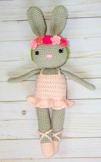 crocheted rabbit doll