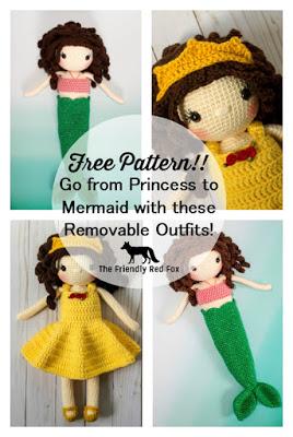 Free Crochet Doll Mermaid Fin Pattern- Sophie Edition