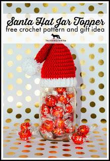 Crochet Santa Hat Jar Topper