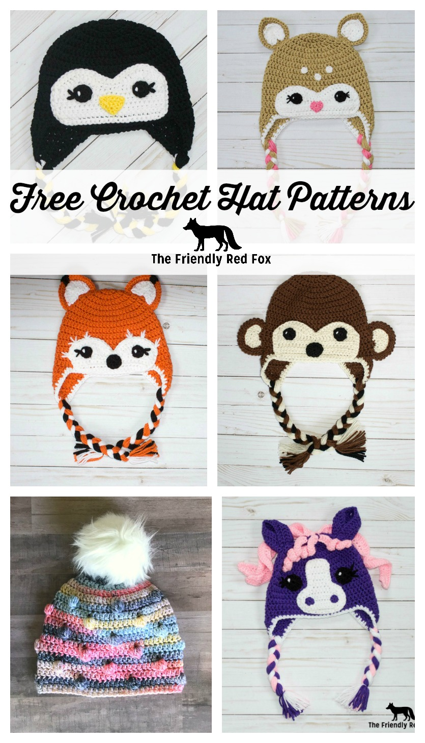 These free crochet hat patterns are suitable for a beginner so you can make one for kids, for adults, boys or girls! Find the perfect one as a gift this holiday season! These character hats also do really well at craft fairs! #crochethat #crochet #kidshat #characterhat #freecrochetpattern