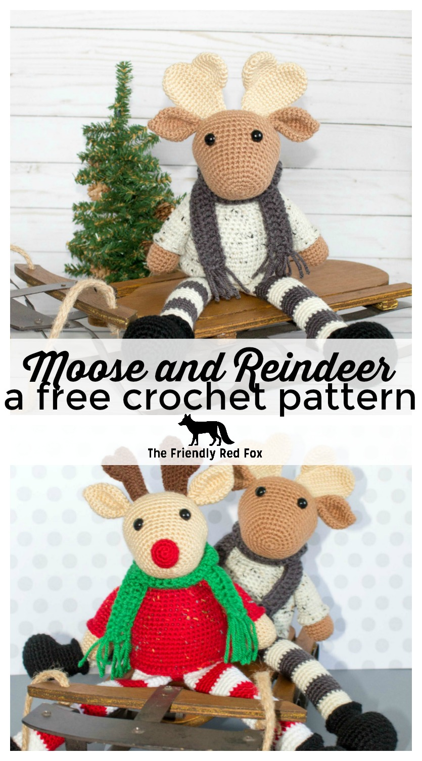 This free crochet moose and crochet reindeer patterns are great to make for Christmas gifts! These amigurumi patterns are super fun and festive, they make great decorations or holiday cuddle friends! #christmas #holidaycrochet #christmascraft #crochet #amigurumi #crochetmoose #crochetreindeer