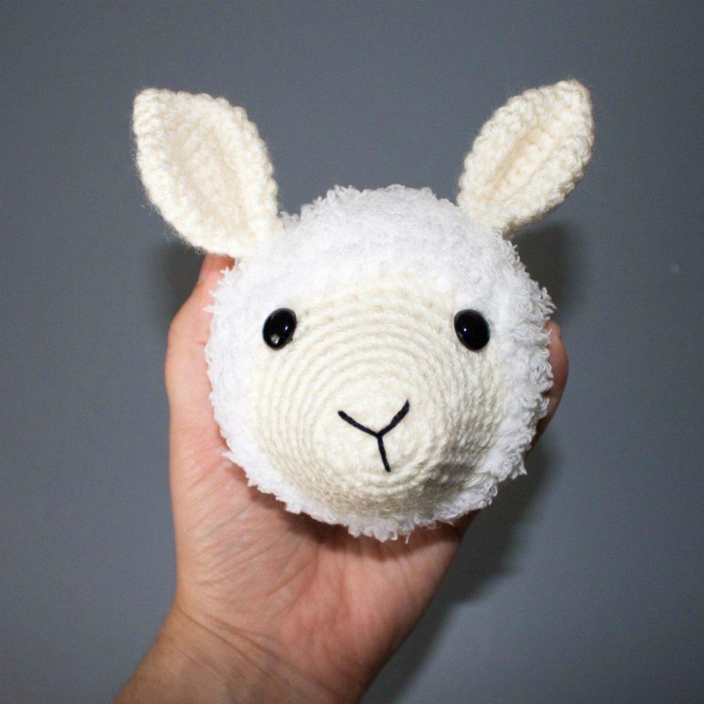 crocheted llama head