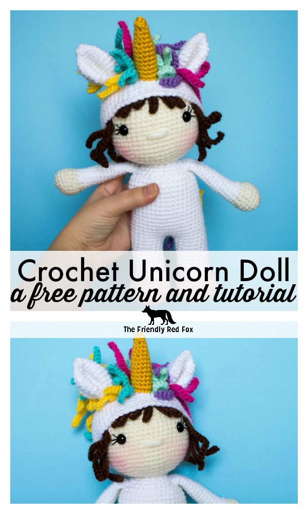 If you love unicorns, you will love this crochet unicorn doll! This free crochet pattern is a perfect amigurumi for everyone that wants to be a unicorn. It is an easy pattern that would be the perfect gift for a little girl's toy! #amigurumi #unicorn #crochetdoll #amigurumidoll #crochet