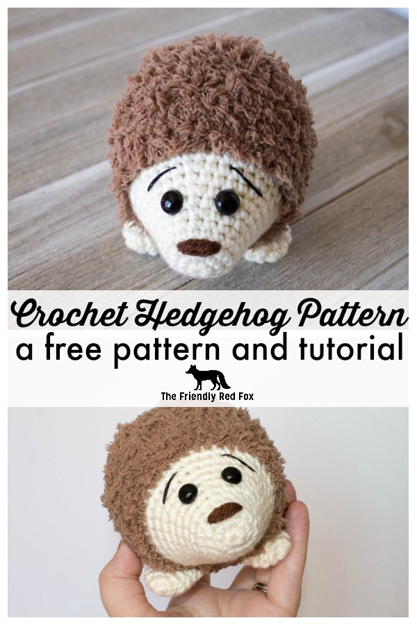 This crochet hedgehog pattern makes a super cute 5 inch amigurumi! This is a very easy pattern, and the fuzzy yarn is surprisingly easy to work with! Perfect for boys or girls, this is a great beginner pattern. You will want to make a whole family of amigurumi hedgehogs! #amigurumi #amigurumitoy #crochettoy #crochethedgehog #hedgehog #freepattern #freecrochetpattern