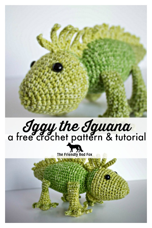 This free crochet iguana pattern is so much fun! A great amigurumi pattern for a beginner, much more simple than it looks. You will crochet as many lizards as you can! Video tutorial to help. great beginner amigurumi pattern and a fun crochet animal! #lizard #easycrochet #crochetpattern #amigurumi