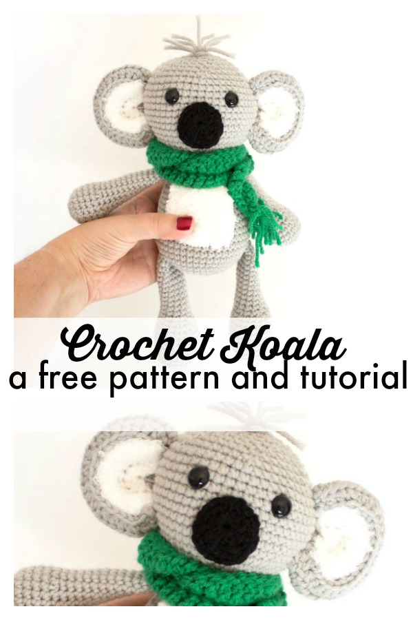 This free crochet pattern for this little koala bear is great for even someone who is new to amigurumi. The finished koala is about 12 inches tall. A super cute crochet animal! #freecrochetpatterns #amigurumi