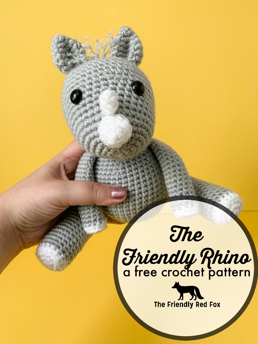 This free crochet rhino pattern is a perfect amigurumi to cuddle! Easy enough for a beginner, you will love making this animal softie toy!