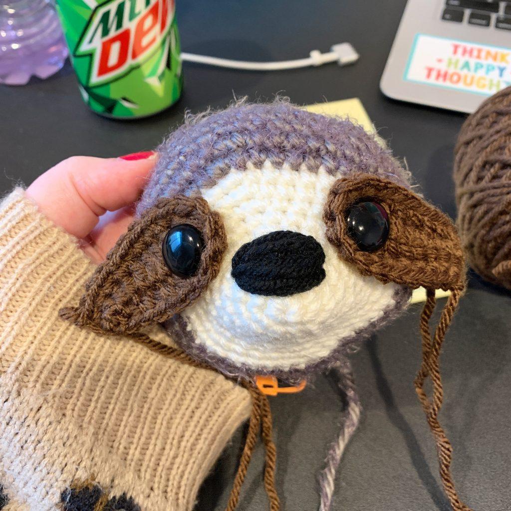 crocheted sloth head